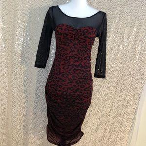 Guess Red leopard/cheetah print dress
